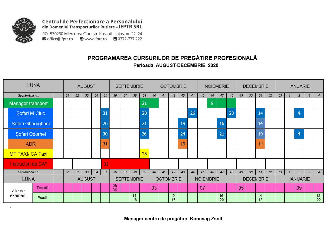 Programare cursuri august decembrie 2020